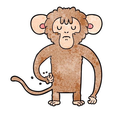 cartoon monkey scratching