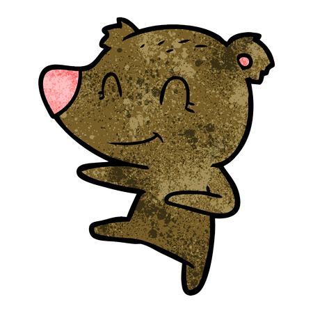 smiling dancing bear cartoon Ilustrace