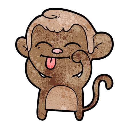 面白い漫画の猿  イラスト・ベクター素材