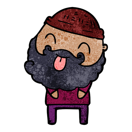 man with beard sticking out tongue Illustration
