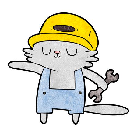 A cartoon of cat builder on white background. Illusztráció