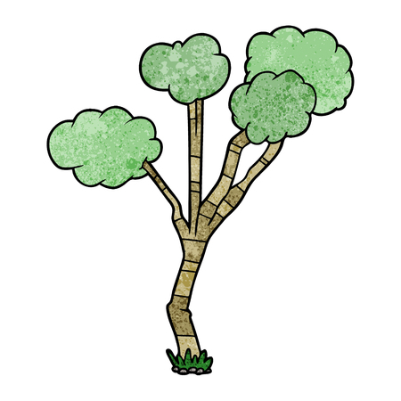 A cartoon  of sparse tree on white background.
