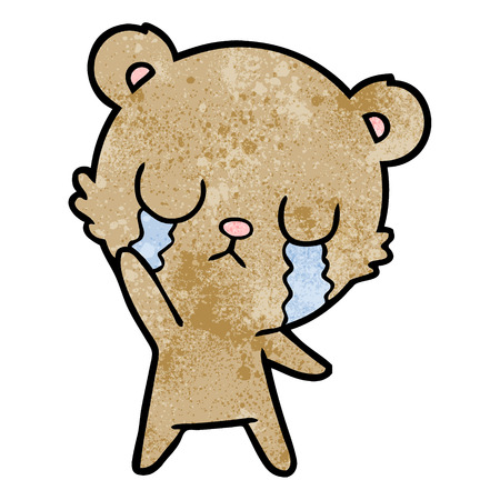 A crying cartoon of bear waving on white background.