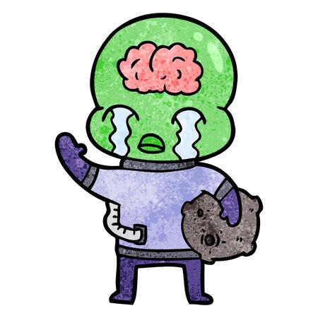 A cartoon of big brain alien crying and waving goodbye