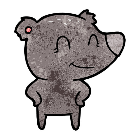 A friendly bear with hands on hips on white background.