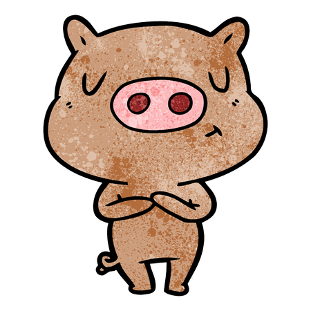 A cartoon content pig on white background.