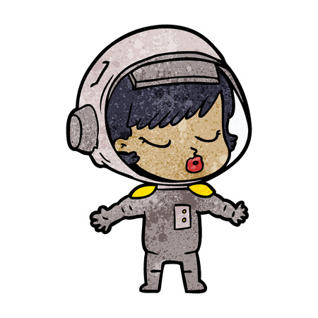 A cartoon pf pretty astronaut girl on white background. Illustration