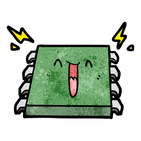 A happy computer chip cartoon on white background.