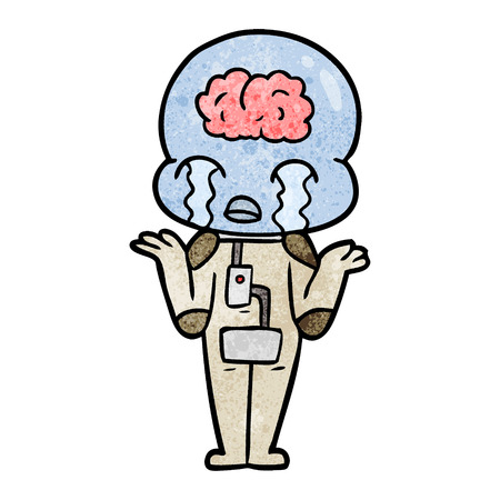 A cartoon big brain alien crying on white background.