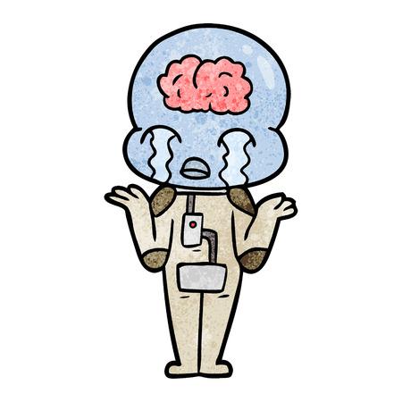 A cartoon big brain alien crying on white background. 스톡 콘텐츠 - 95001561