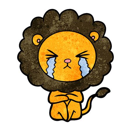 A cartoon crying lion sitting huddled up on white background. Illustration