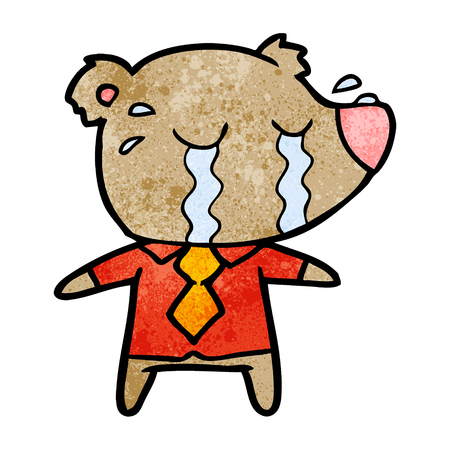 A cartoon crying bear in shirt on white background.