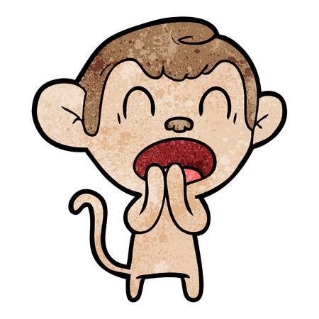 A yawning cartoon monkey on white background. Illusztráció