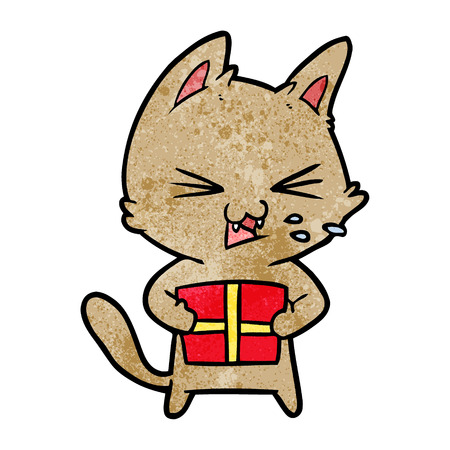 A cartoon hissing cat with Christmas present on white background.