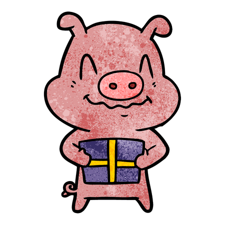 A nervous cartoon pig with present on plain presentation.
