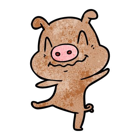 白い背景に漫画の酔っぱらった豚。