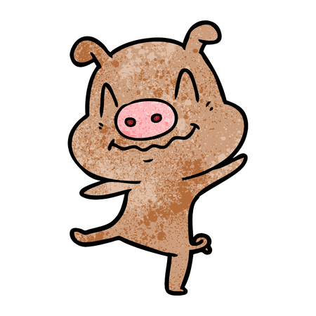 A cartoon drunk pig on white background.