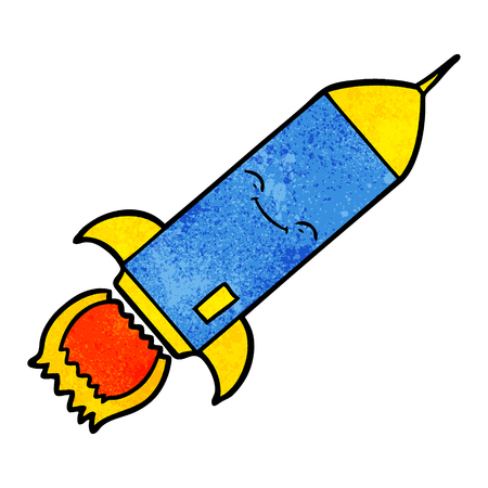 A cartoon rocket on white background.