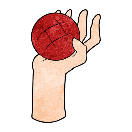 白い背景にボールを投げる漫画の手。