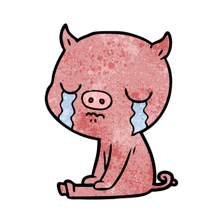 A cartoon pig crying on white background.
