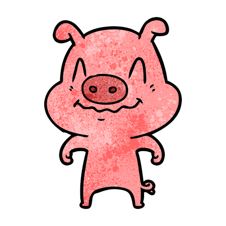 A nervous cartoon pig on white background. 向量圖像