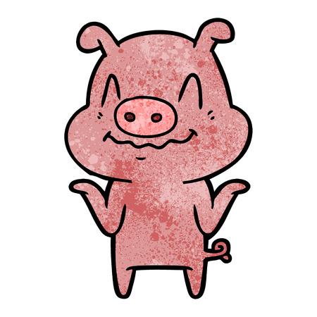 白い背景に神経質な漫画の豚。  イラスト・ベクター素材