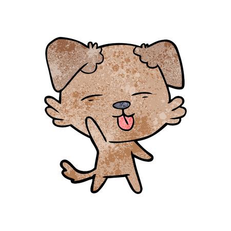 A cartoon dog sticking out tongue on plain presentation. Ilustração