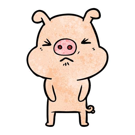 A cartoon grumpy pig on plain presentation.