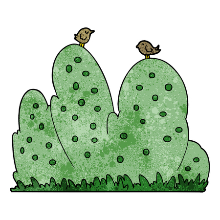 A cartoon hedge on plain presentation. Illustration