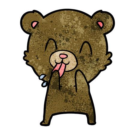 A rude cartoon bear on plain presentation. Illustration