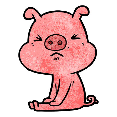 cartoon angry pig sat waiting Ilustrace