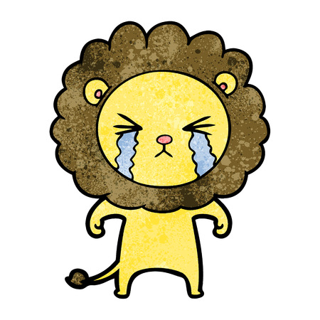 Hand drawn cartoon crying lion