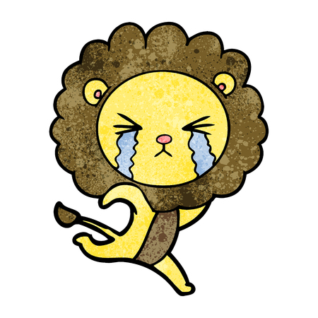 Hand drawn cartoon crying lion running away