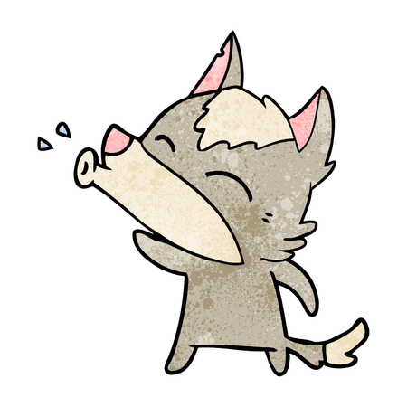 Hand drawn howling wolf cartoon Illustration