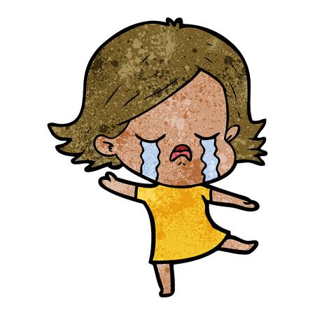 Hand drawn cartoon girl crying Stock Illustratie