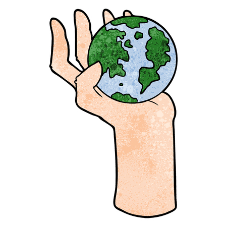 Hand drawn cartoon hand holding whole earth