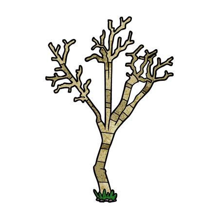 Hand drawn cartoon winter tree
