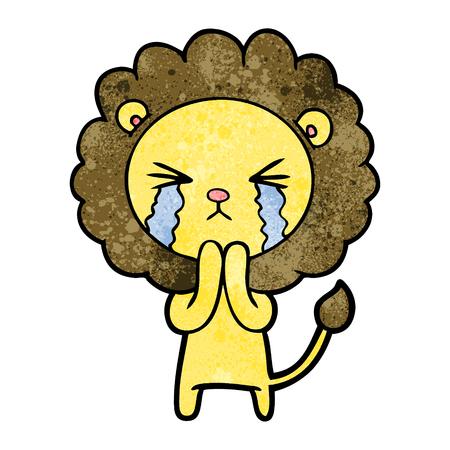 Hand drawn cartoon crying lion praying