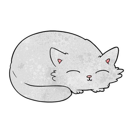 Hand drawn cartoon cat sleeping