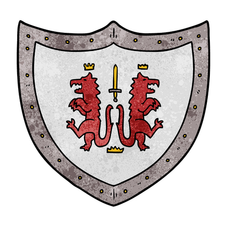 Hand drawn cartoon heraldic shield Stock Illustratie