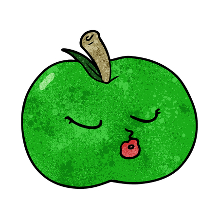 Hand drawn cartoon apple Illustration