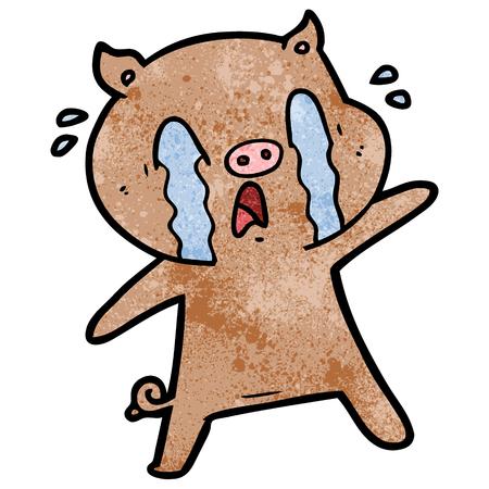 Hand drawn crying pig cartoon Illusztráció