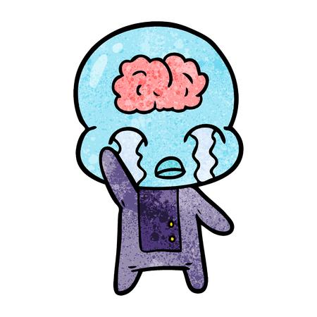 Hand drawn cartoon big brain alien crying 向量圖像