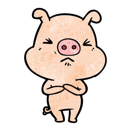 Hand drawn cartoon angry pig Иллюстрация