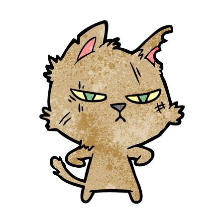 手描きタフな漫画猫  イラスト・ベクター素材