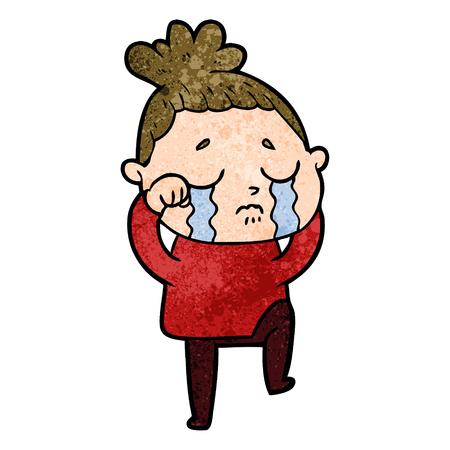 Cute cartoon crying woman illustration
