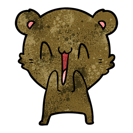 Hand drawn happy bear cartoon