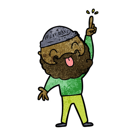 Hand drawn man with beard sticking out tongue Ilustração