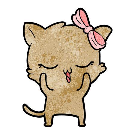 Hand drawn cartoon cat with bow on head Illustration