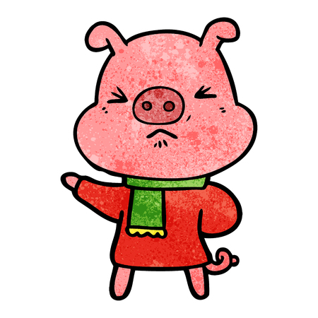 A cartoon angry pig